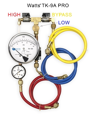 Watts TK9A Backflow equipped with extra Line Pressure Gauge (TK9A PRO)